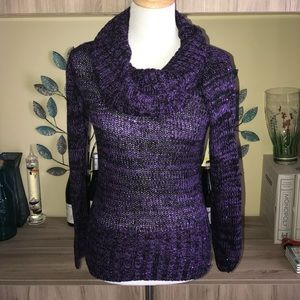 L.E.I. purple Sequined Sweater 1977